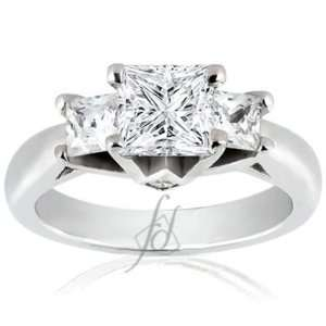 1.40 Ct 3 Three Stone Princess Cut Diamond Engagement Ring