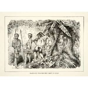 1881 Print Men Travel Forest Jungle Luzon Philippines Native Journey
