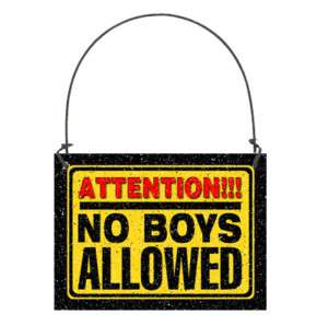 ATTENTION NO BOYS ALLOWED SM Sign Wood Girls Bedroom