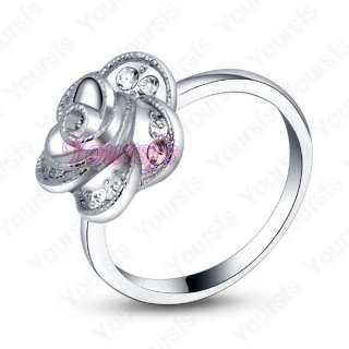 Unique 18K White Gold Plated Use Swarovski Crystal Rose Flower