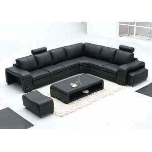 Mateo Black Full Leather Sectional Sofa Set   RSF
