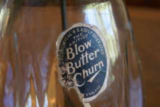Antique J. J. Blow Butter Churn Glass Jar Quart England English