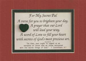 SECRET PAL verses poems Christian FRIEND plaques Prayer