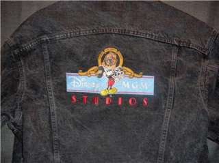 Vintage DISNEY MGM STUDIOS Black Denim LEVIS Jacket LG