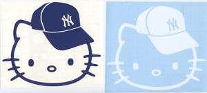 HELLO KITTY NY YANKEES CAP DECAL STICKER VINYL SET of 2