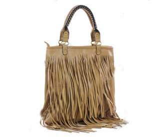 Punk Tassel Fringe Womens Fashion Leather handbag Shoulder Bag