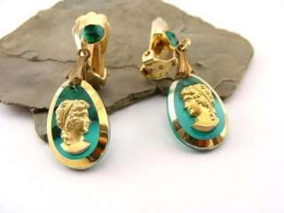 vintage 50s Emerald Green & Gold Lucite Cameo Earrings