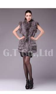0330 Rabbit Fur and Raccoon Fur Fashion women Vest waistcoat gilet