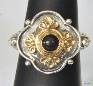 Beautiful New KONSTANTINO SS 18K Gold Black Onyx Flower Ring Sz 7 1/2