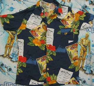 vtg Hang Ten 70s HAWAIIAN RAYON Shirt L blue ten beach surf
