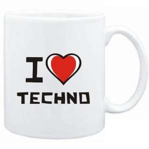 Mug White I love Techno  Music Sports & Outdoors