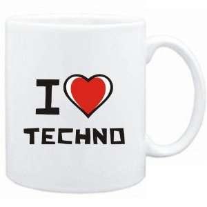 Mug White I love Techno  Music Sports & Outdoors