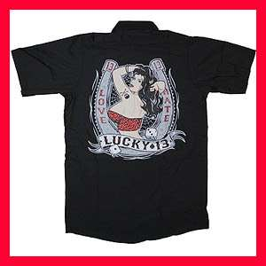 New Punk Lucky 13 Pin Up Girl Mens Black Work Shirt M