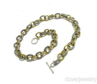 David Yurman 18K Gold Sterling Silver Long Heavy Chain Link Necklace
