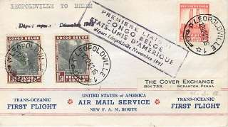 FAM F22 10d   BELGIAN CONGO   1941 Pan American First Flight Cover