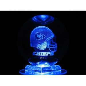 NFL Kansas City Chiefs 3D Laser Etched Crystal Ball 80mm FREE SHIPPING