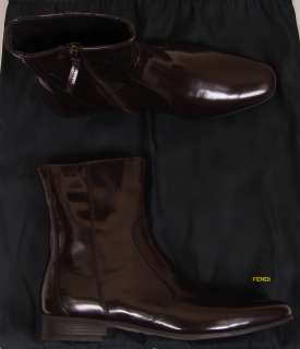 FENDI SHOES $1105 DARK BROWN LOGO ORNAMENTED PATENT LEATHER BOOTS 7.5