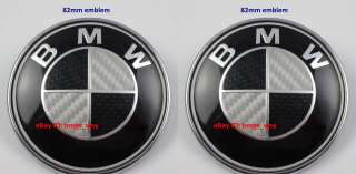 High Quality BMW Carbon Fiber 82mm + 82mm Hood Trunk Emblem Badge E36