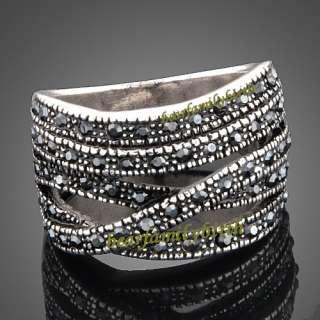 Stylish18k white Gold GP swarovski crystal ring 1668