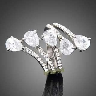 18k white gold GP Swarovski crystal stylish ring 1781