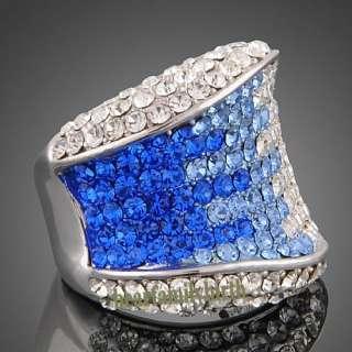 Ladys Swarovski crystal & 18k gold GP big finger ring 1793