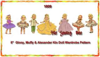 1809 Vintage doll Wardrobe Pattern 8 Ginny, Muffy, Alexander & Kin