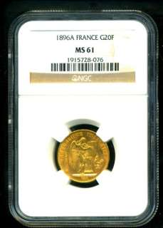 1896 FRANCE ANGEL GOLD COIN 20 FRANCS NGC CERTIFIED GENUINE & GRADED