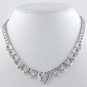 18K White Gold Diamond Floral Accented Necklace