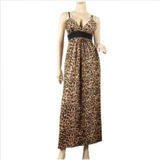 Sexy Brown Animal Print Empire Waist Plus Size Maxi Dress