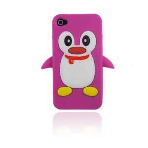 Hot Pink Cute Penguin Animal Silicone Case for Iphone 4