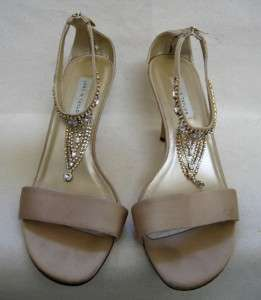 LORD & TAYLOR Gold Satin High Heel Shoes w/rhinestones