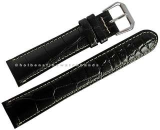 19mm Crocodile Grain Black Leather deBeer Mens Watch Band Strap