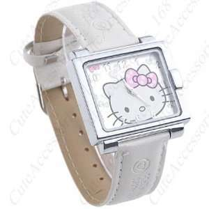 Hello Kitty Square Face Watch with White Band