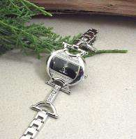 HORSE & WESTERN LADIES WOMENS CRYSTALS HORSE BIT WATCH   SILVER