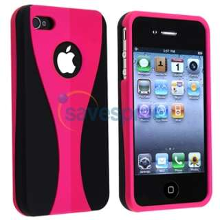 PINK RUBBER HARD Case Cover+PRIVACY LCD FILTER for iPhone 4 s 4s G New