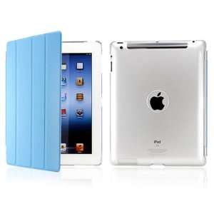 Sky Blue PU Magnetic Smart Slim Case Cover with Crystal