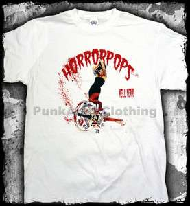Horrorpops   Album cover hell yeah white  official t shirt   FAST