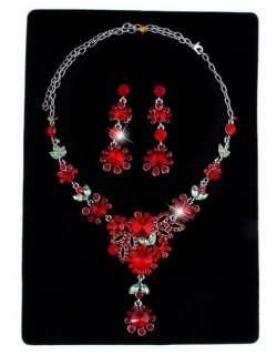 Necklace Earring Set Flower Flora Leaf Link Golden/Silver Color Czech