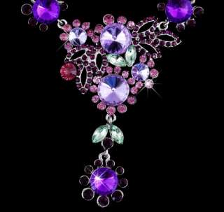 23954 Purple Flowers Rhinestone Crystal Bridal Drop Necklace Dangle