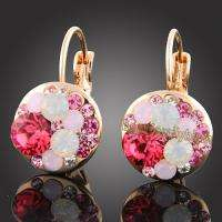 18k Gold Gp multi swarovski crystal earrings 591