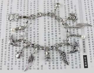 1pcs Tibetan silver ANGEL WING charm bracelet