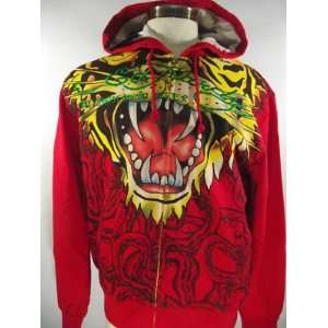 ED HARDY MENS ROARING TIGER HOODIE NWT EMBROIDERY RED Size