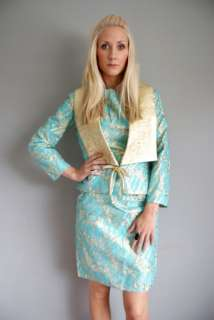 Vtg 50s Turquoise Aqua GOLD METALLIC BROCADE Jac o Wiggle Party Dress