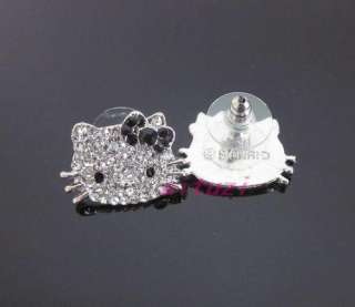 Kitty black bow lovey earring earbob xams gift E33 +gift box