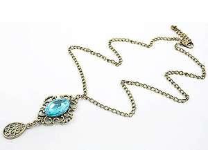 Ancient Cute Big Blue Rhinestone Retro Necklace x96 great gift