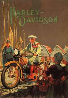 HARLEY DAVIDSON PATH RIDER GIRLS VINTAGE POSTER REPRO 12X16