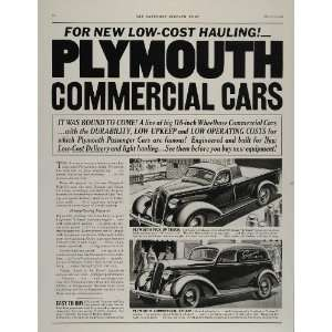 1937 Vintage Ad Plymouth Pickup Truck Commercial Car   Original Print