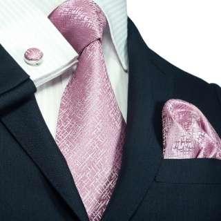 Landisun 263 Light Pink Solids Mens Silk Tie Set Tie+Hanky+Cufflinks