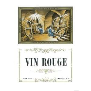 Vin Rouge Wine Label   ope Giclee Poster Print Home