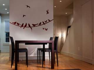 Vinyl Wall Decal Sticker Flying Birds on Wire 21x53